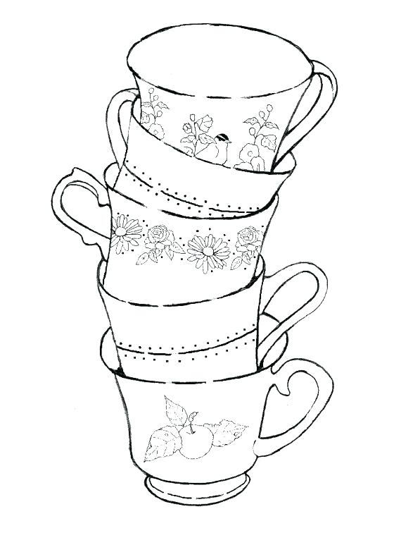 570x756 Tea Cup Coloring Page Mice In Teacup Free On Princess Tea Cup