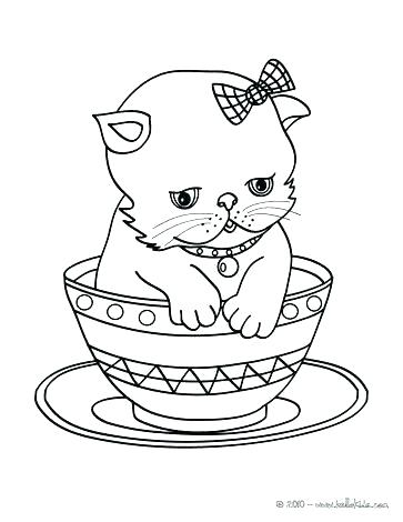 363x470 Cat Coloring Page Cat Color Page Cute Cat Kitten In Cup Cat