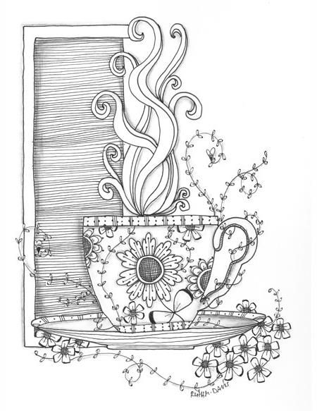 450x583 Coffee Cup Coloring Page Coloring Therapy Coffee