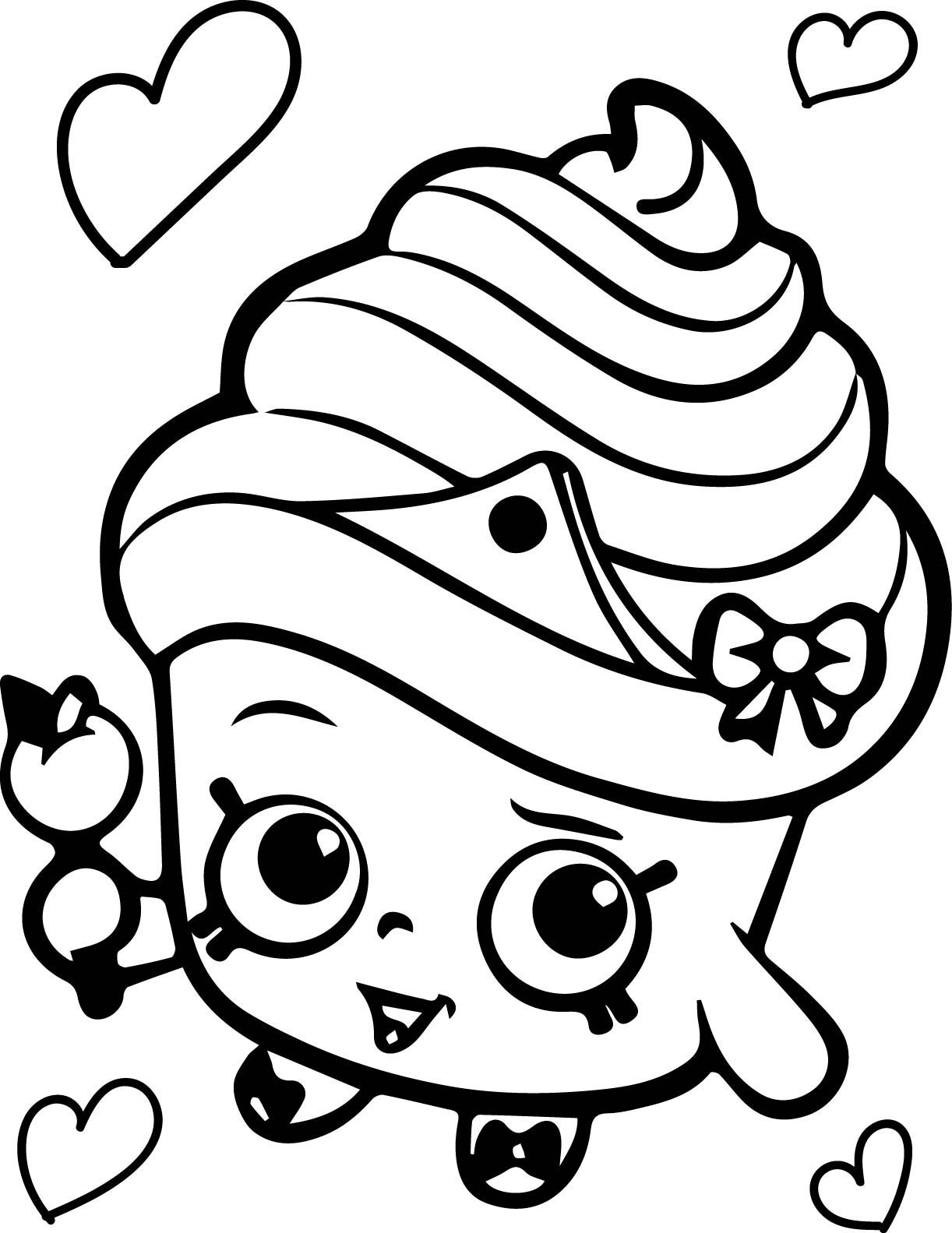1222x1583 Shopkins Queen Cupcake Coloring Page Free