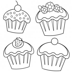 300x300 Cupcake Coloring Pages