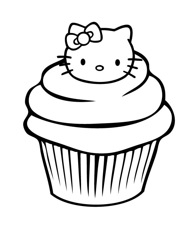 670x851 Hello Kitty In A Cupcake Free Coloring Page Hello Kitty, Kids