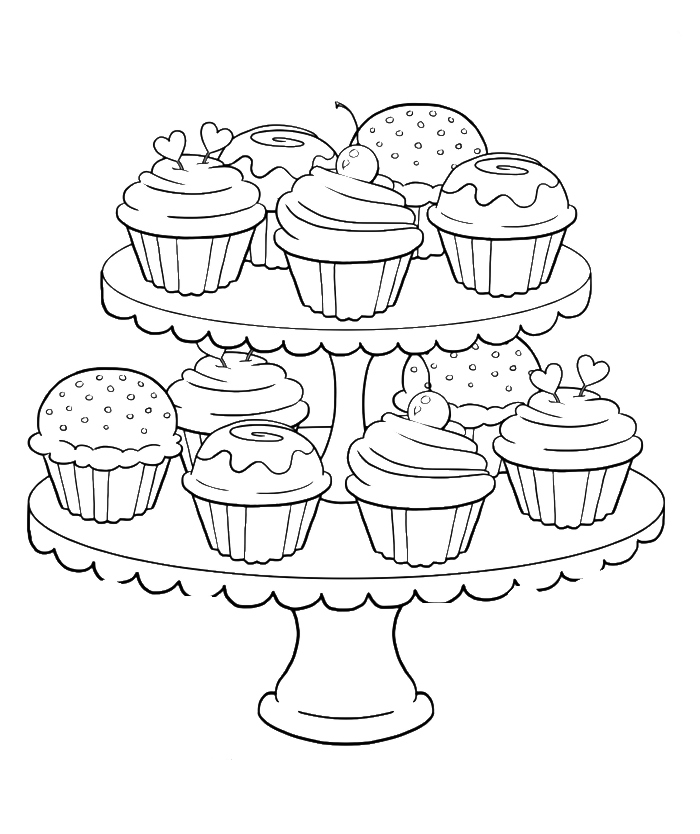 700x834 Cupcake Coloring Pages To Print Images Free Printable Cupcake
