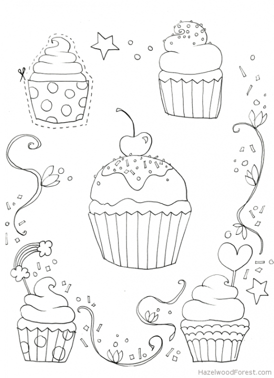 548x755 Free Cupcake Coloring Picture To Print Online Fun Coloring Pages