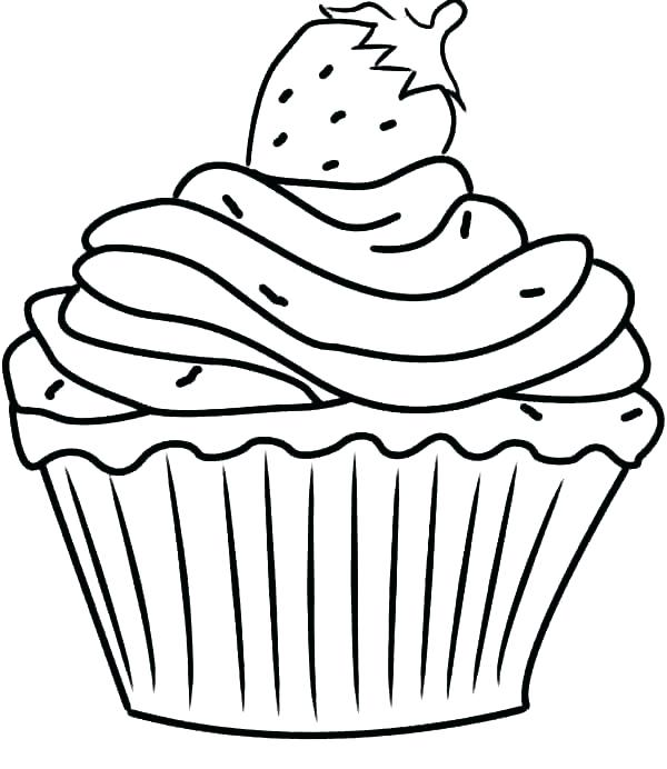 600x692 Cupcake Coloring Page