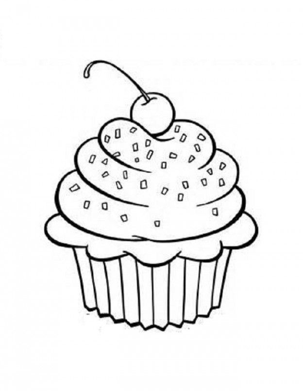 624x806 Coloring Pages Of Birthday Cupcakes Birthday Cupcake Coloring