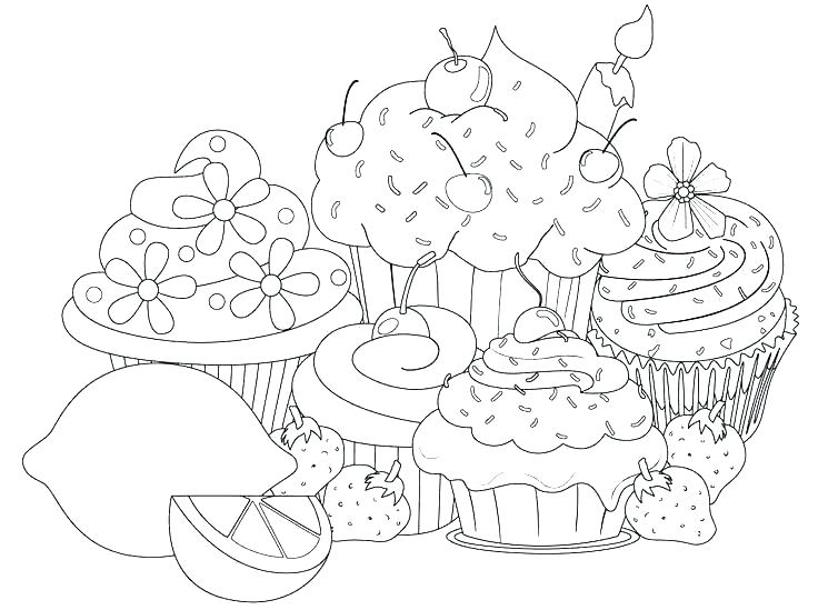 736x549 Coloring Pages Of Cakes And Cupcakes Cup Cakes Colouring Pages