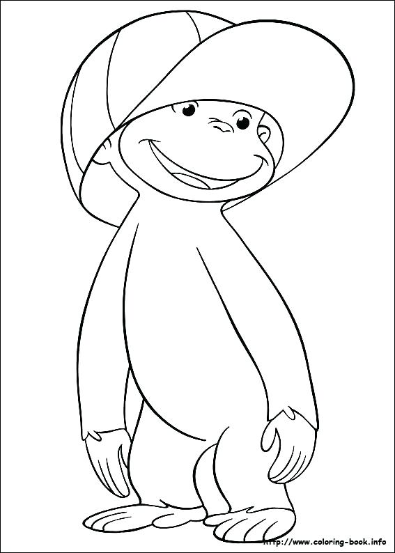 567x794 Curious George Coloring Page Wearing Hat Curious Coloring Pages
