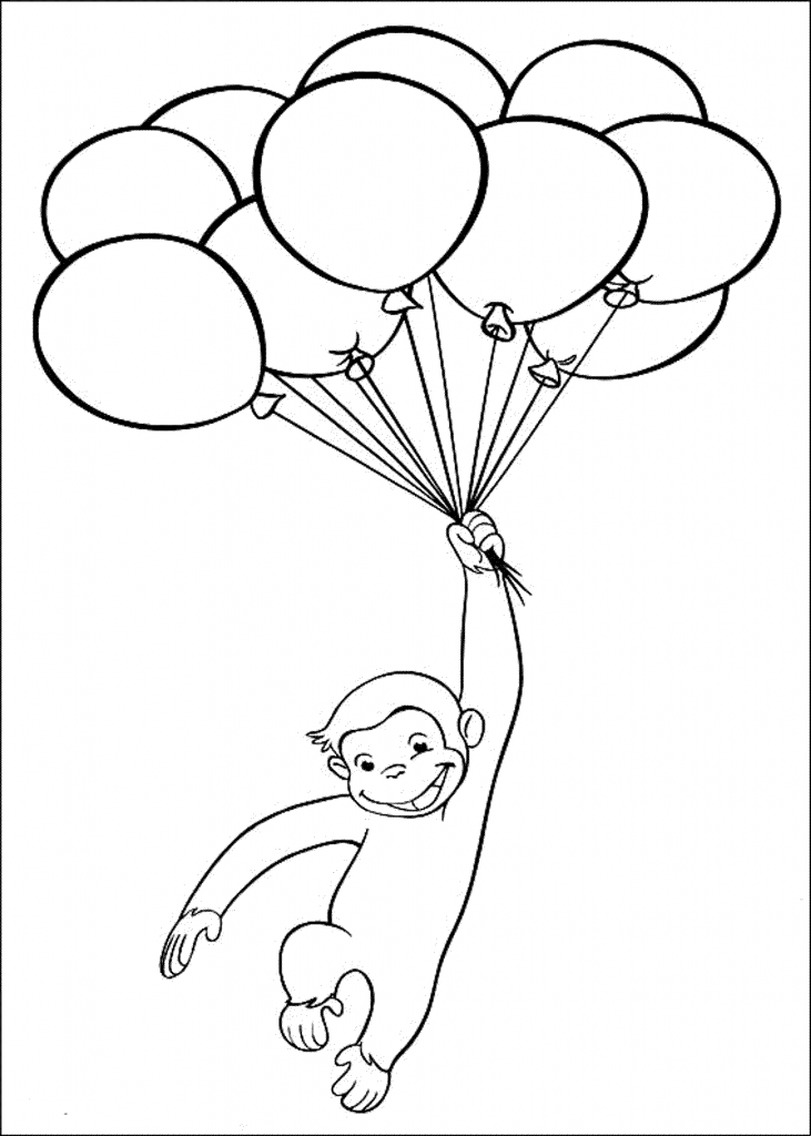 731x1024 Curious George Coloring Pages Birthday Free Cartoon Printable