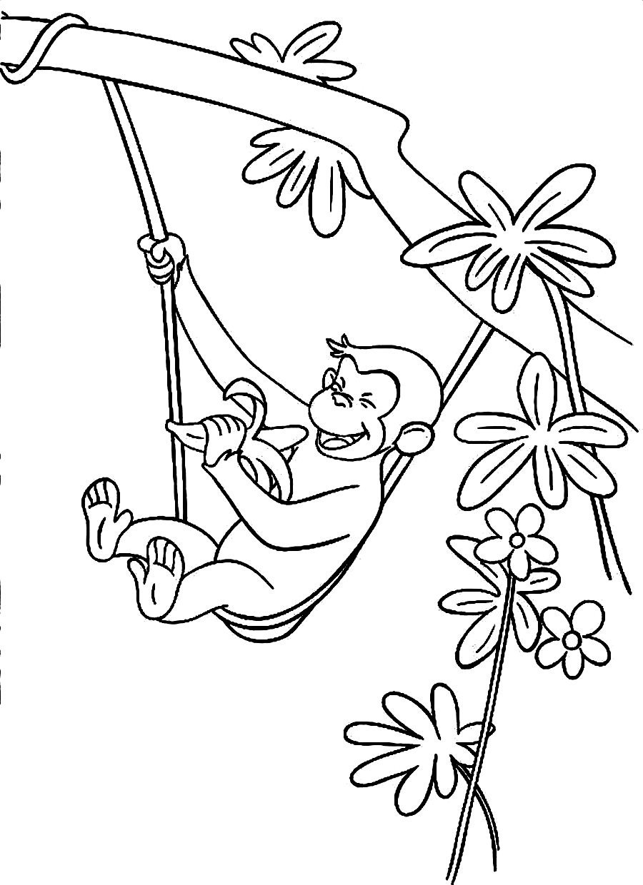 900x1240 Happy Birthday Curious George Coloring Pages For Kids Printable
