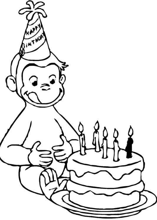 532x744 Curious George Birthday Coloring Pages Halloween