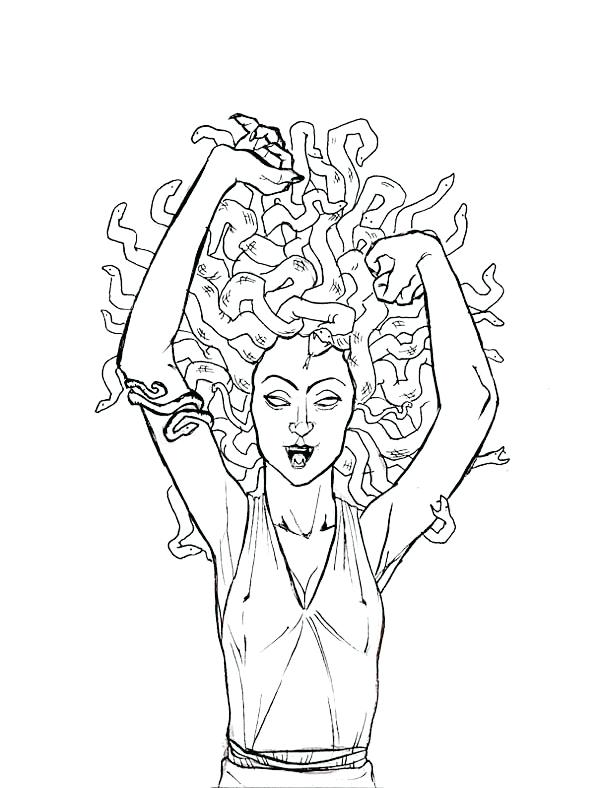 600x788 Medusa Gorgon Pulled Her Snake Hair Coloring Page Medusa
