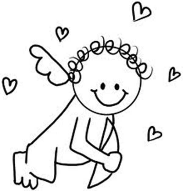 600x625 Baby Cupid Has Curly Hair Coloring Page Coloring Sun