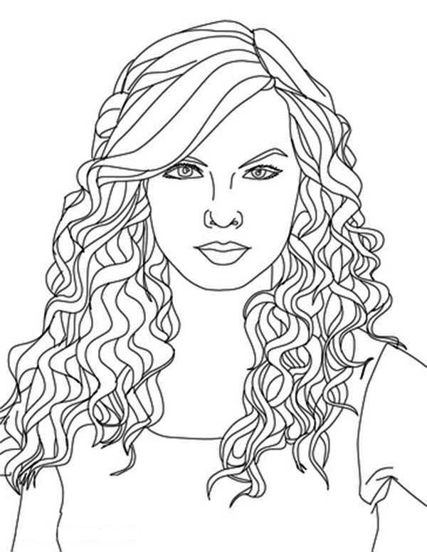 600x775 Taylor Swift, Taylor Swift Curly Hair Coloring Page Coloring