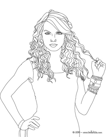 364x470 Taylor Swift Curly Hair Coloring Page Sketch Drawings