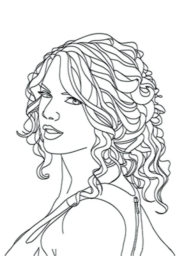 600x834 Unique Taylor Swift Coloring Pages And Swift Curly Hair Coloring