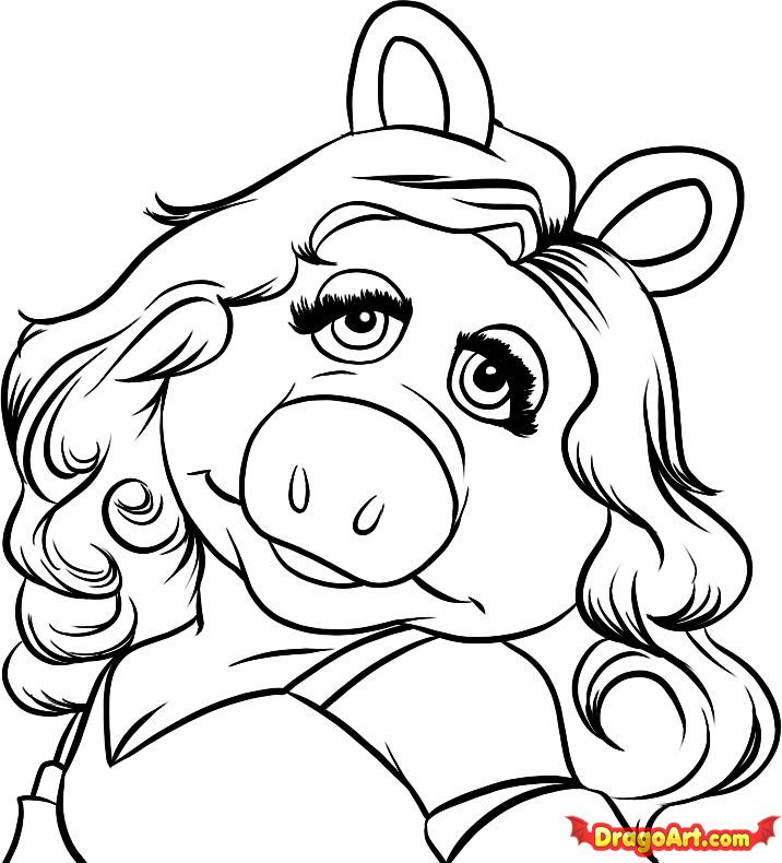 716x790 Mrs Piggy Coloring Pages Miss Piggy Curly Hair Coloring Page Diva