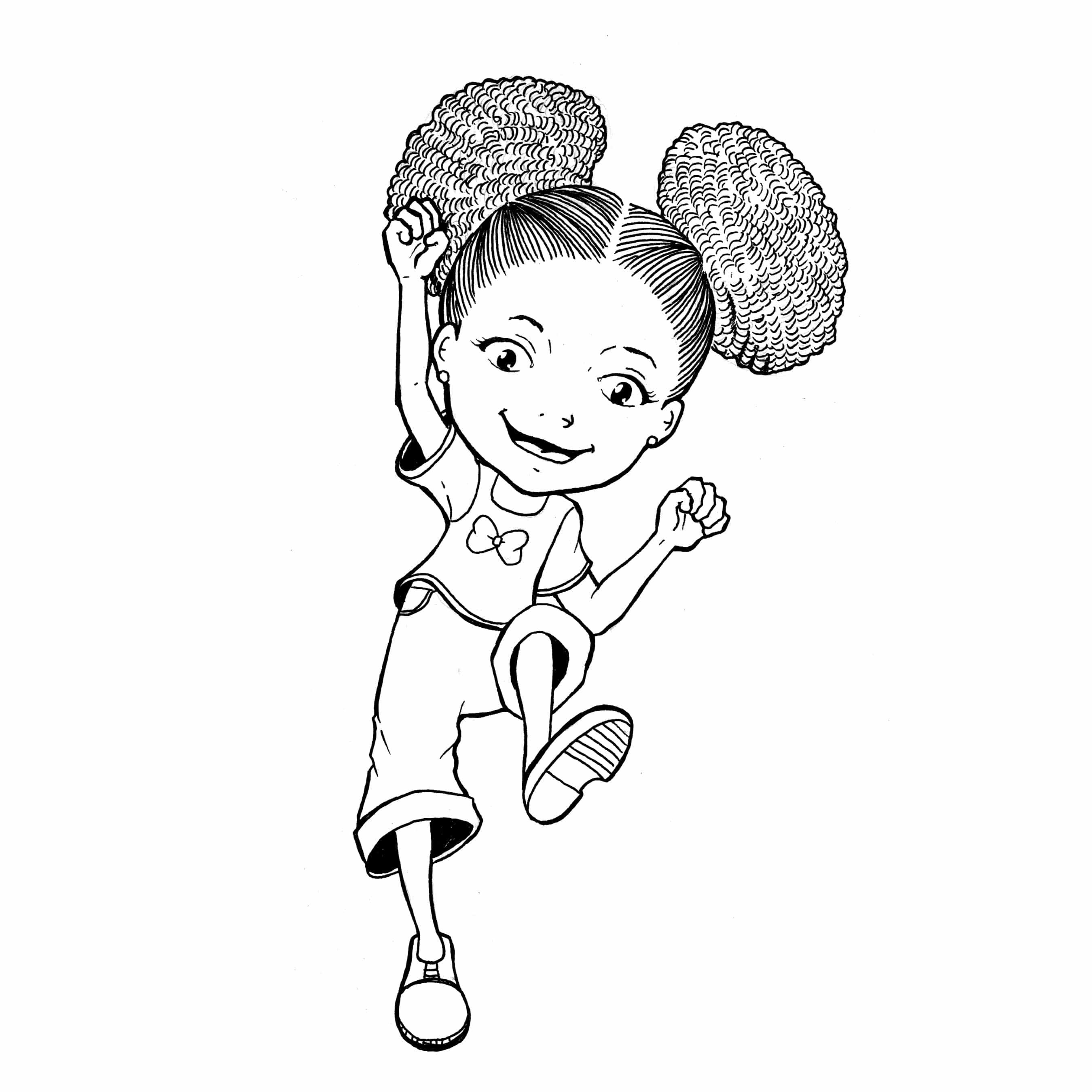 2700x2700 Coloring Page Girl With Curly Hair Zari