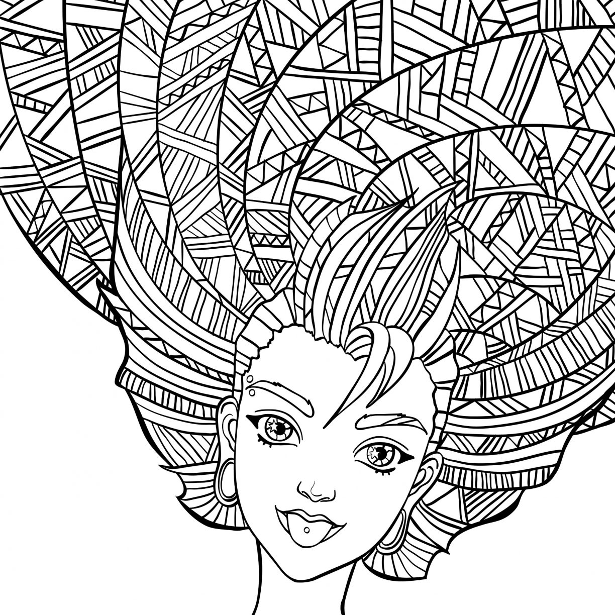 1224x1224 Crazy Hair Coloring Pages Long Chihuahua Day Girl With Smart