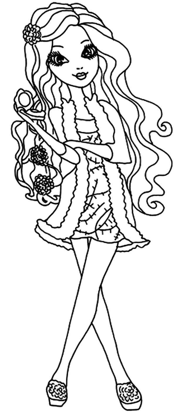 600x1406 Ever After High Apple White Curly Hair Coloring Pages
