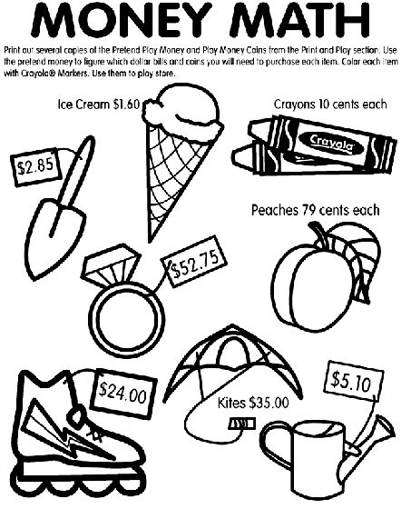 Currency Coloring Pages