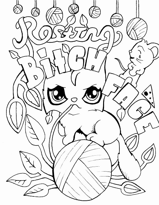 518x668 Cuss Word Coloring Pages Photograph Cat Adult Coloring Page Swear