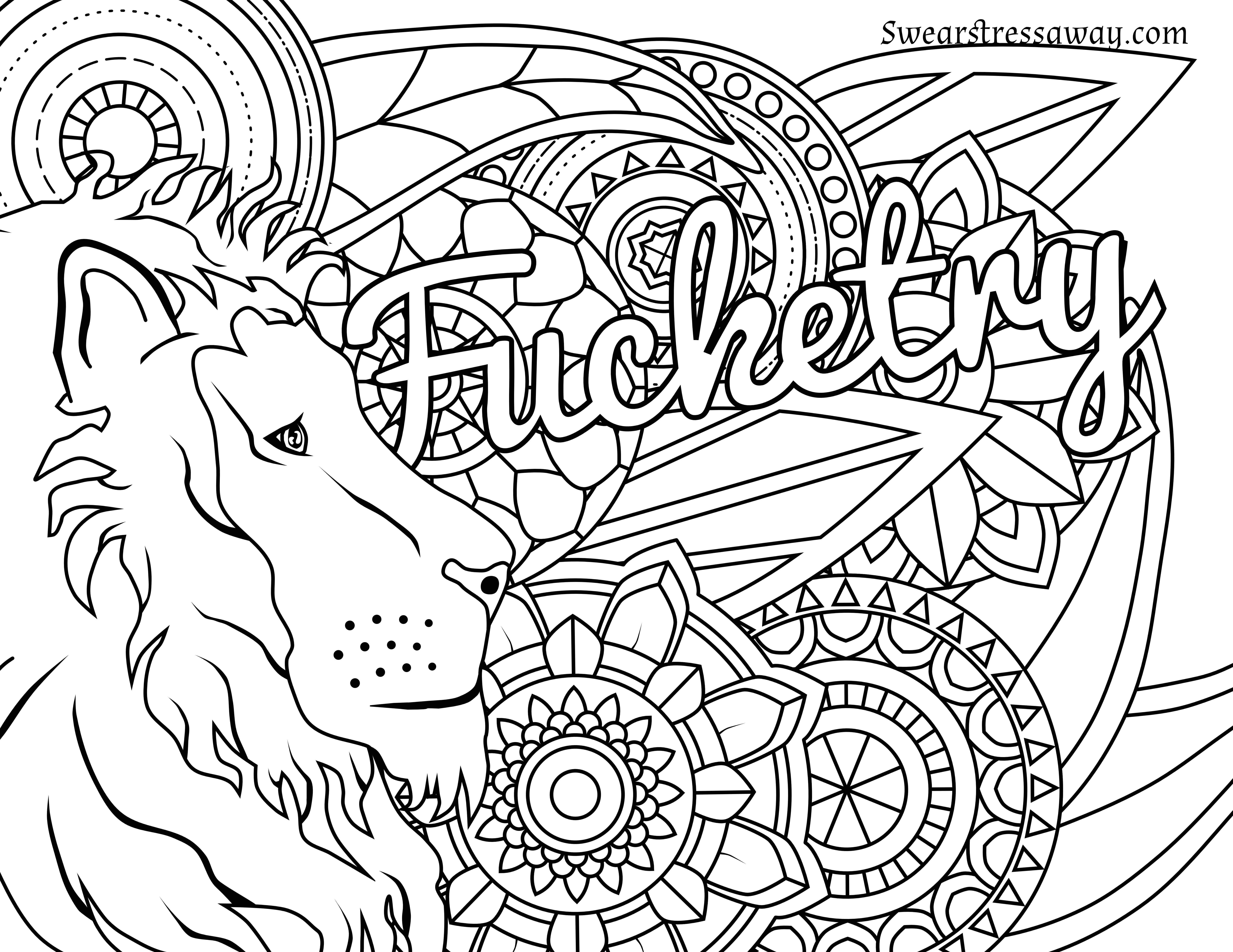 6900x5328 Powerful Cuss Word Coloring Pages Swear Printable Free Page