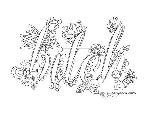 500x386 Curse Word Coloring Pages Printable Bitch Swear Words Coloring