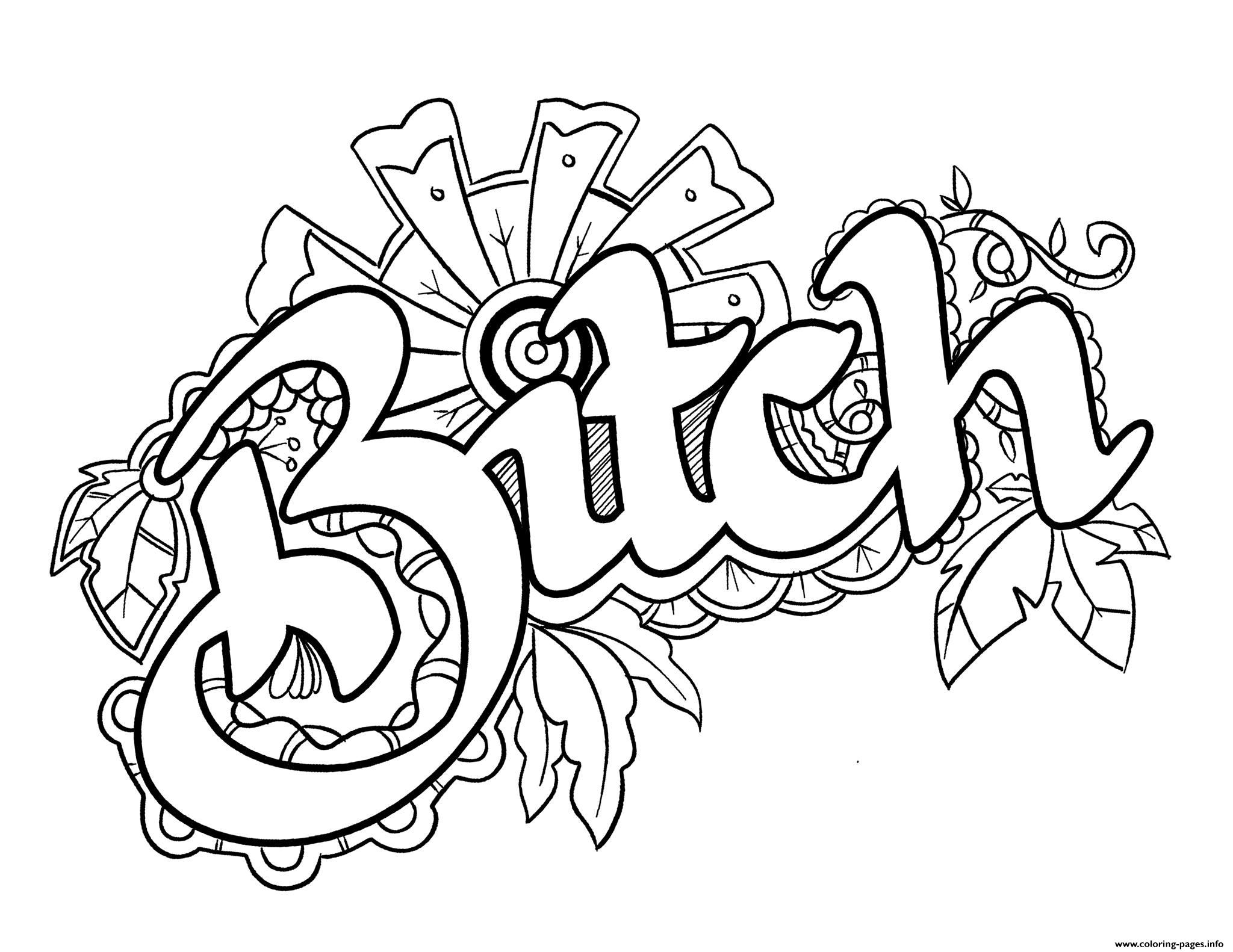 2048x1582 Bitch Swear Word Coloring Pages Printable