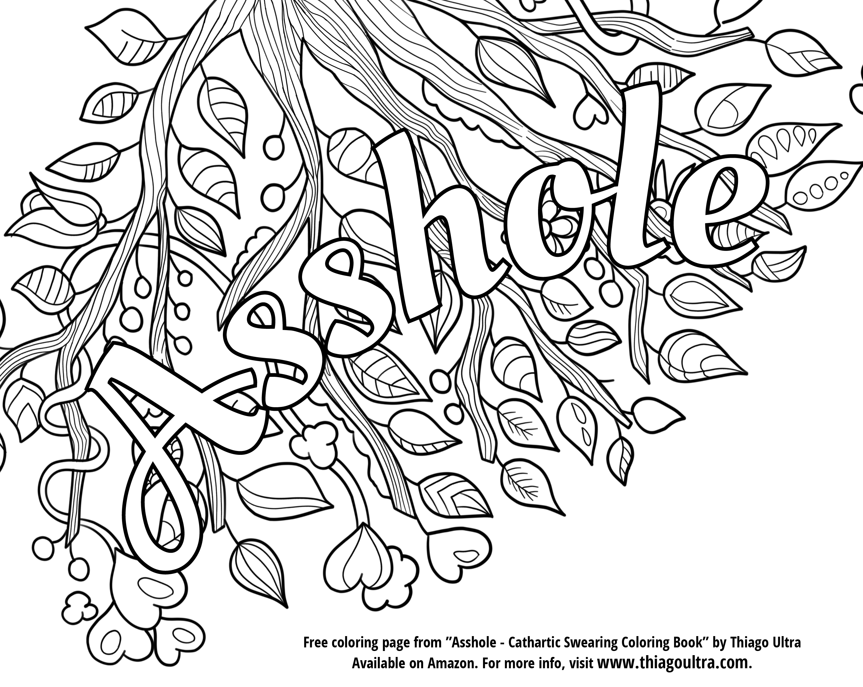 2900x2308 Swear Word Coloring Book Pages Ahole Curse To Print Inside Color