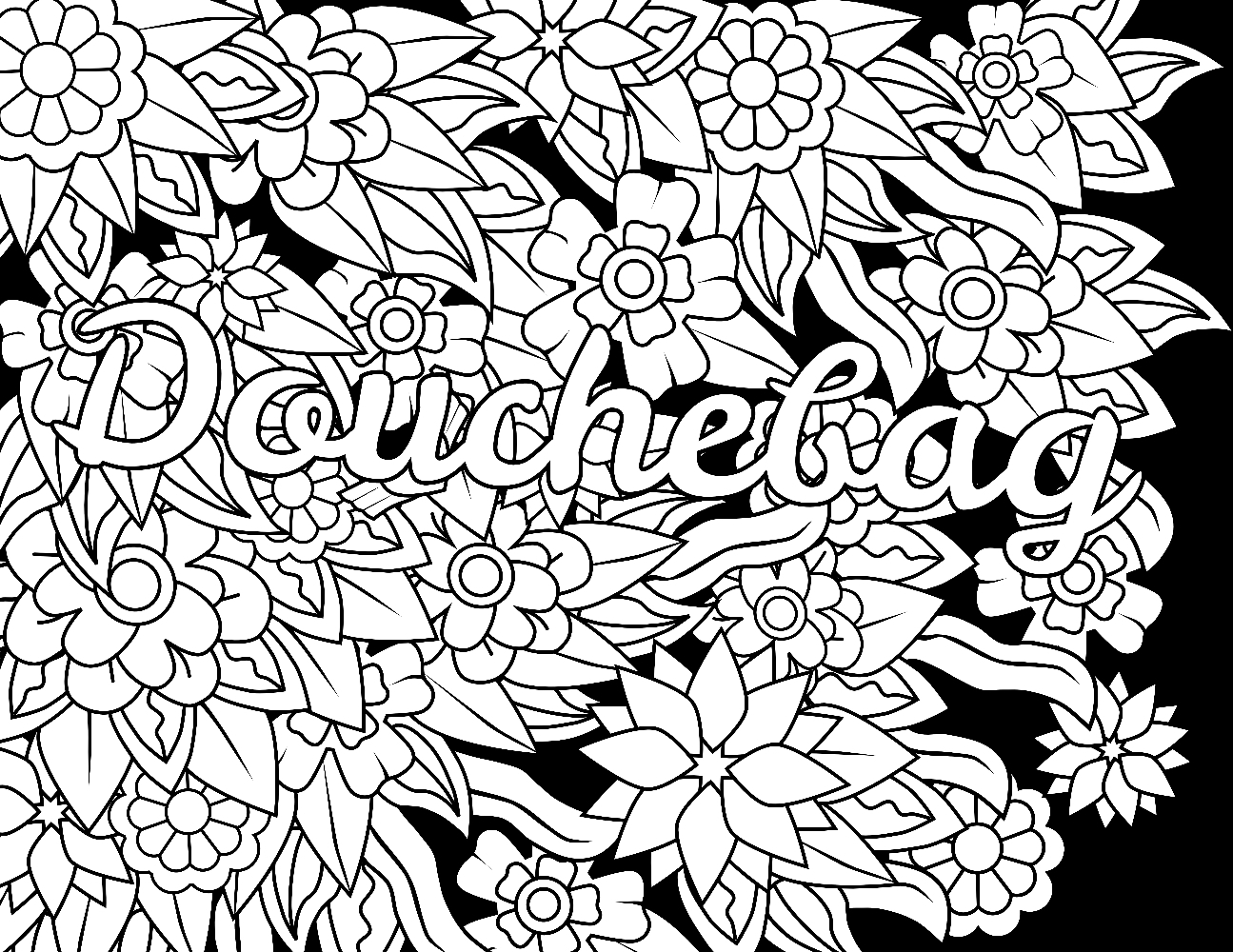 1295x1000 Awesome Douchebag Swear Word Coloring Page Adult Coloring Page