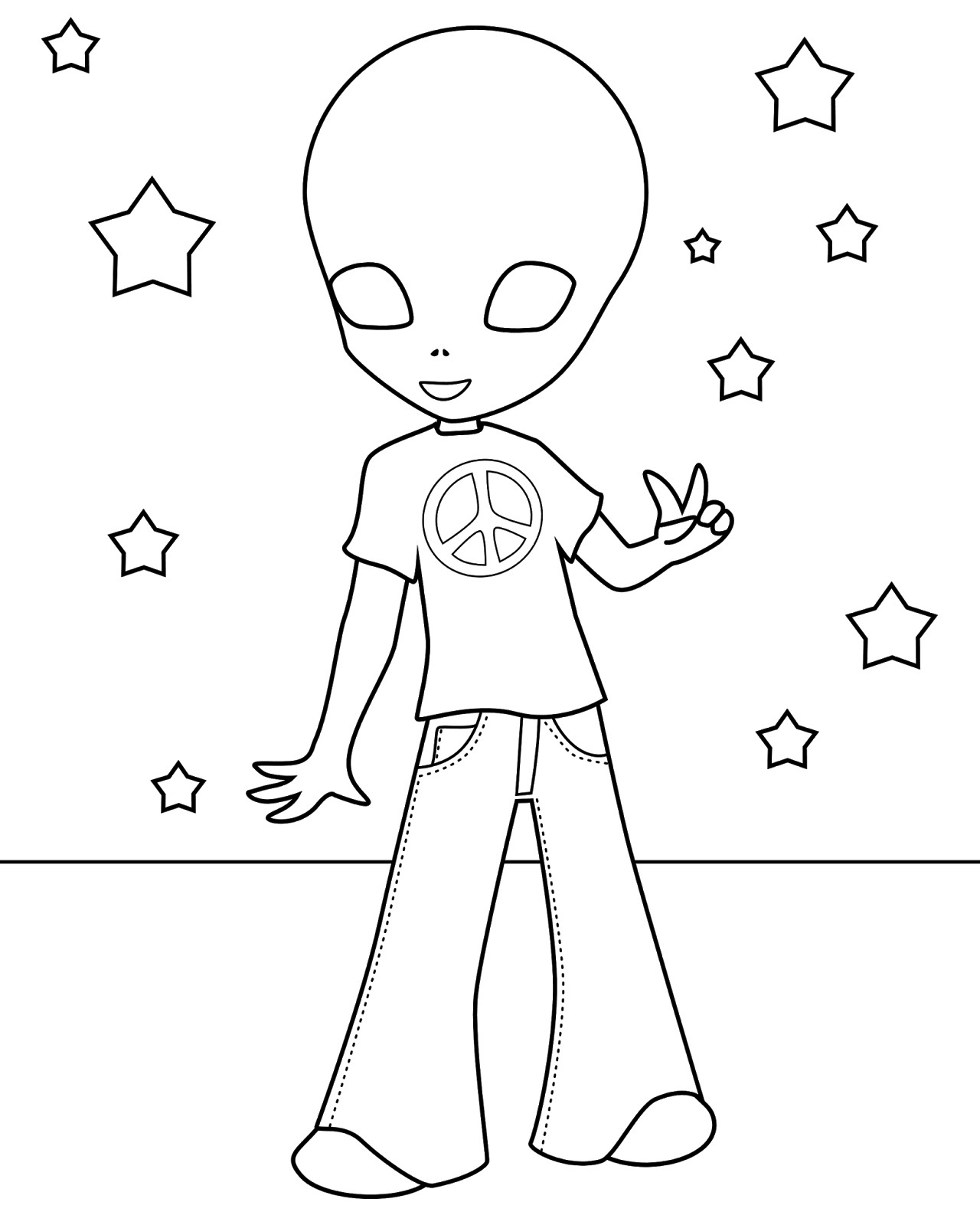 Cute Alien Coloring Page
