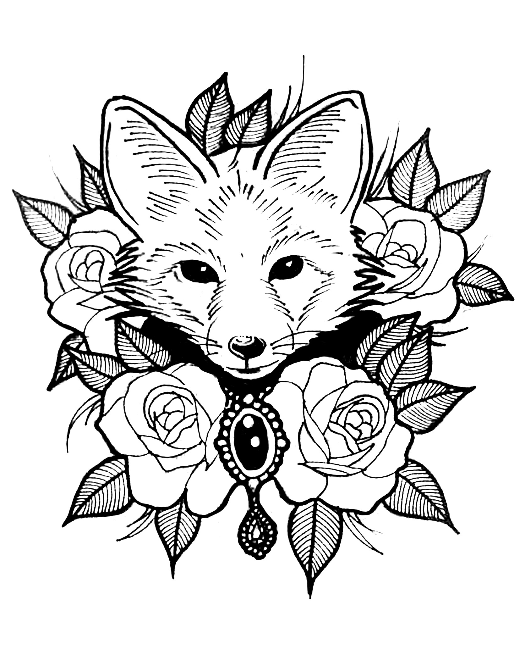 1671x2083 Surging Cute Animal Coloring Pages For Adults Fox With Roses Foxes