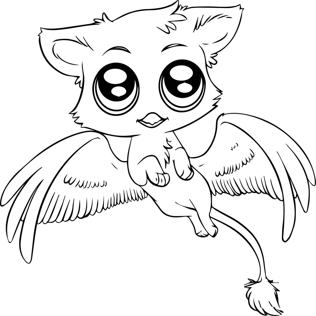 1024x1024 Cute Cartoon Animals With Big Eyes Coloring Pages Free Draw