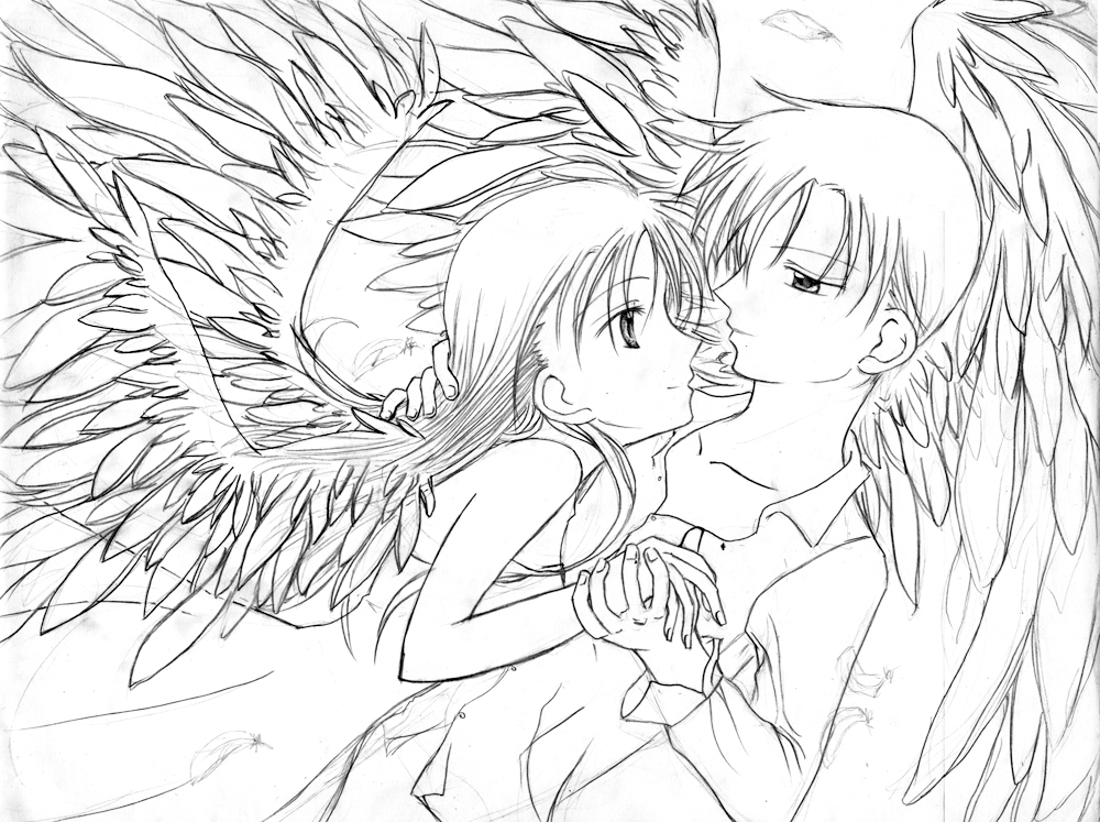 1000x747 Gorgeous Anime Couples Coloring Pages Wolf Kissing Cute