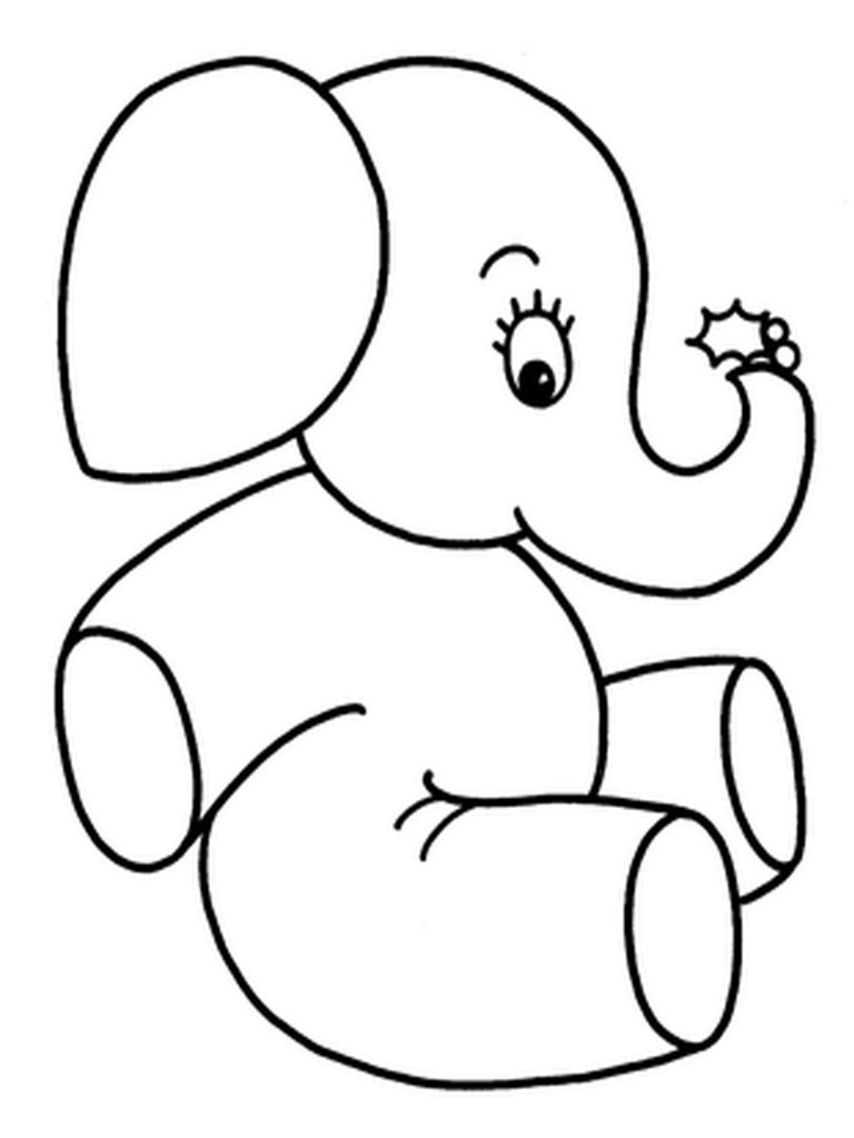 768x1024 Cute Baby Elephant Animal Coloring Page For Kids Beauteous Pages