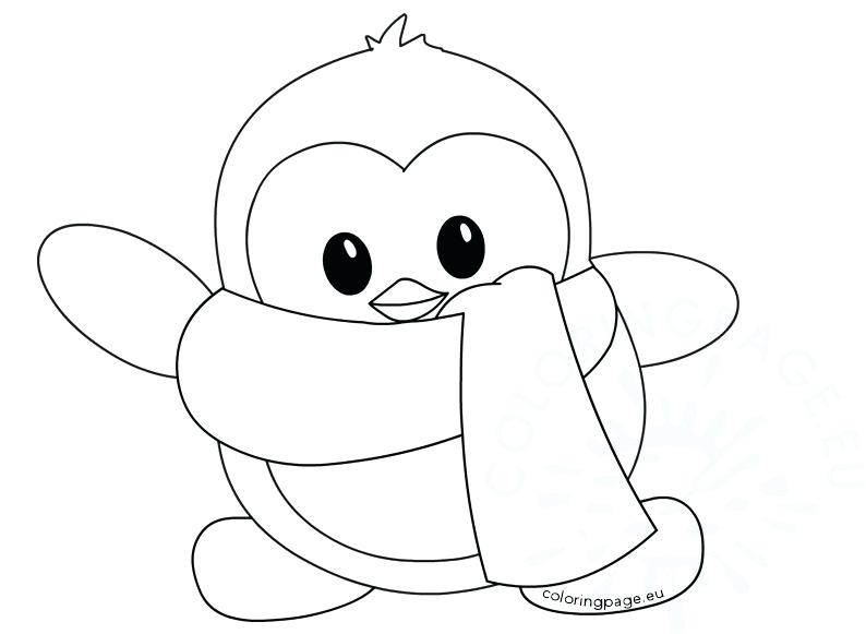 794x581 Little Cute Winter Penguin Coloring Page Cute Little Penguin
