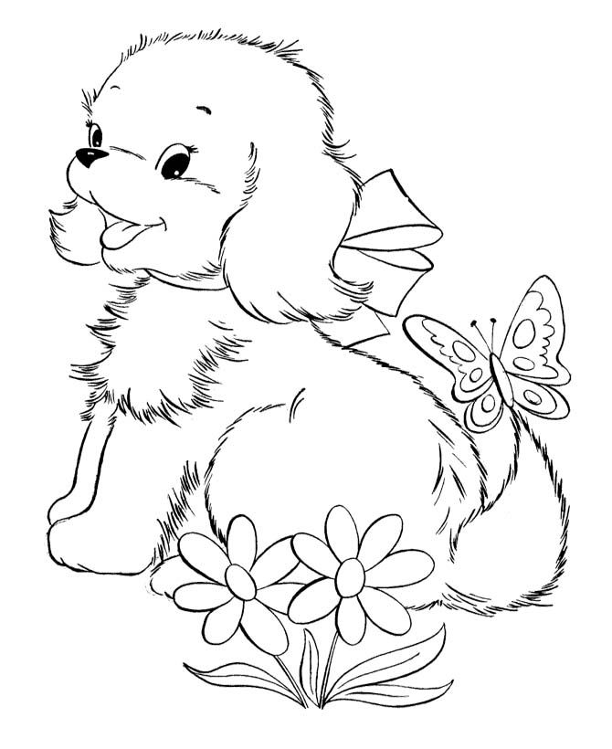 670x820 Cute Baby Puppies And Butterfly Coloring Page Riscos