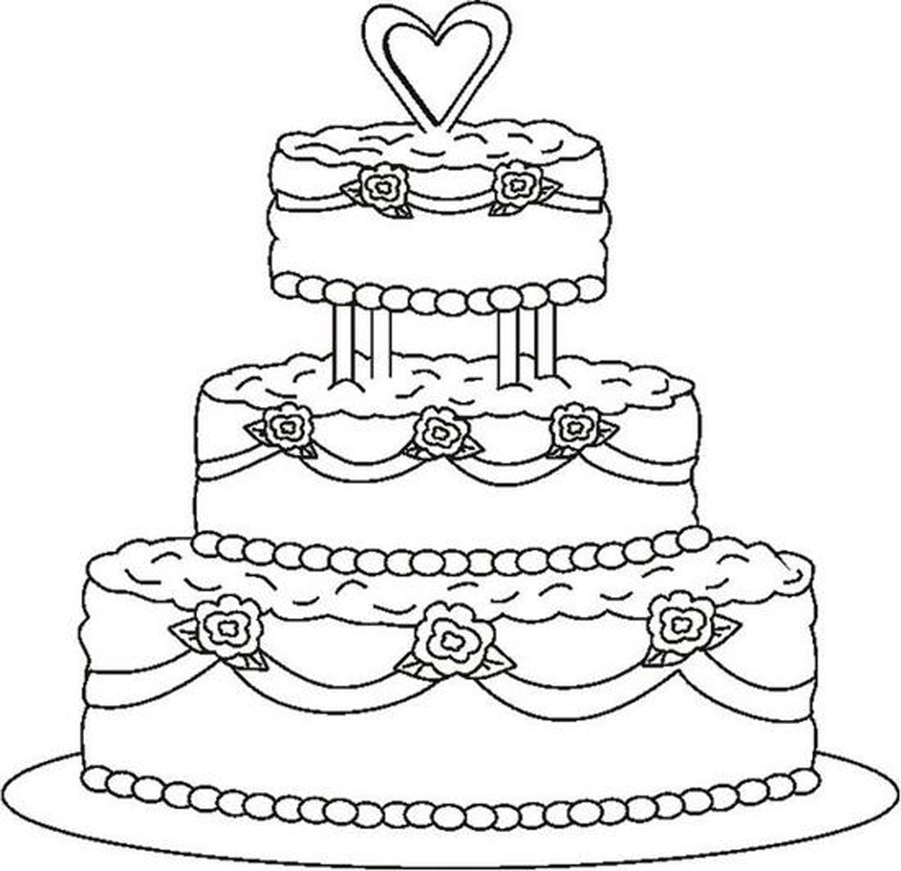 Cute Cake Coloring Pages