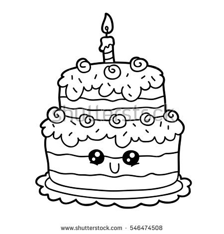 450x470 Vector Illustration Cute Cartoon Birthday Cake Stock Vector