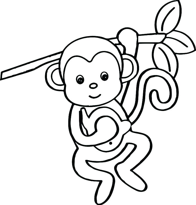 764x800 Cute Monkey Coloring Pages Monkey Cartoon Coloring Page Monkey