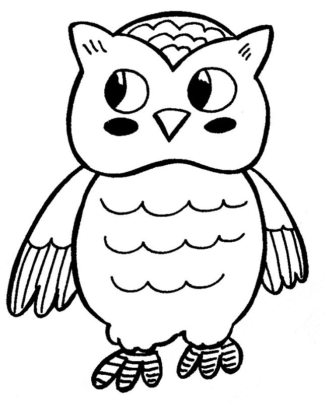 645x800 Cute Cartoon Owl Coloring Pages
