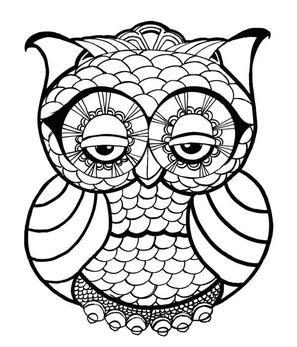 600x699 Free Printable Owl Coloring Pages For Adults And Menu Cute
