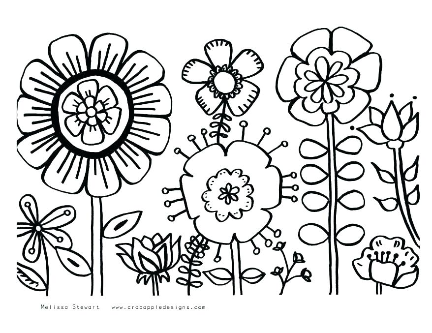 878x677 Cute Flower Coloring Pages Pretty Flower Coloring Pages Flower