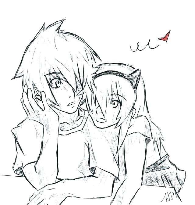 640x672 Cute Couple Coloring Pages Cute Anime Coloring Pages To Print Plus