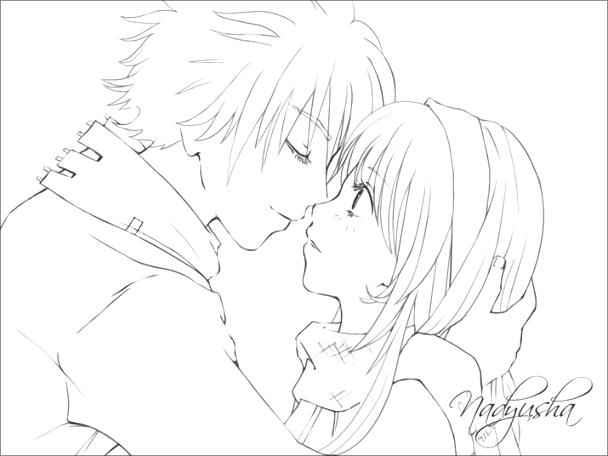 608x456 Anime Couple Coloring Pages Cute Couple Coloring Pages Colour My