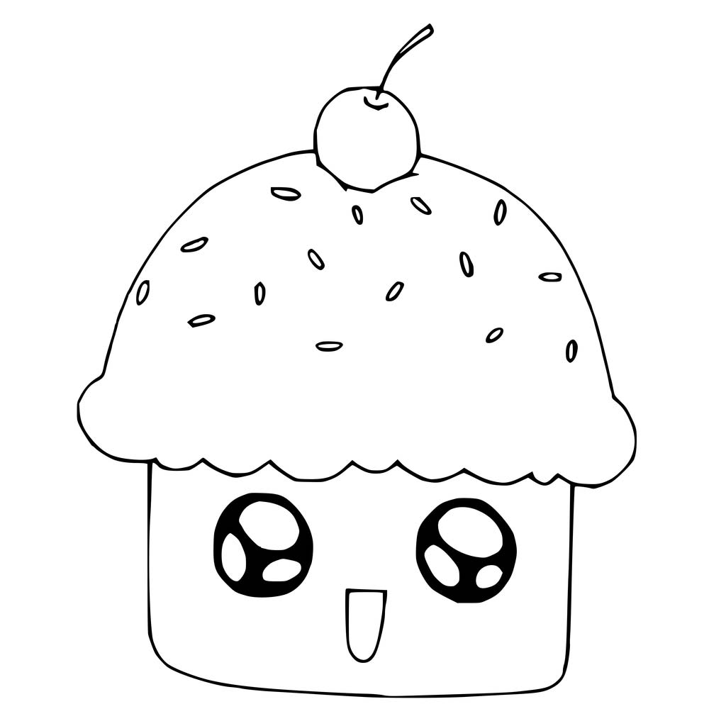 1024x1024 Cute Cupcake Coloring Pages