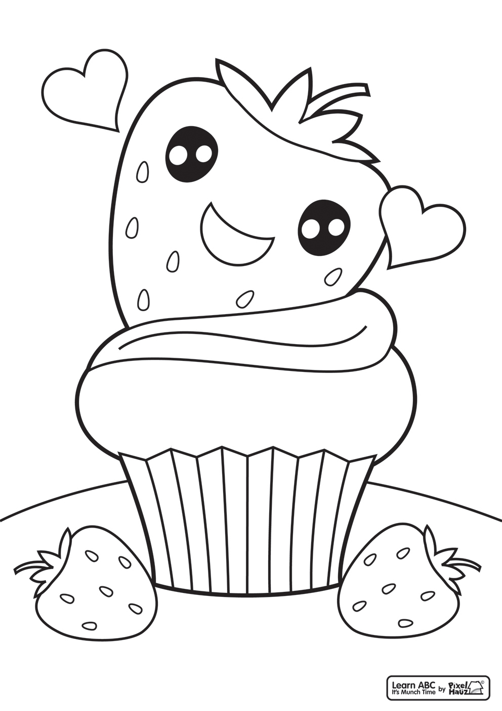 992x1403 Strawberry Cupcake Coloring Page