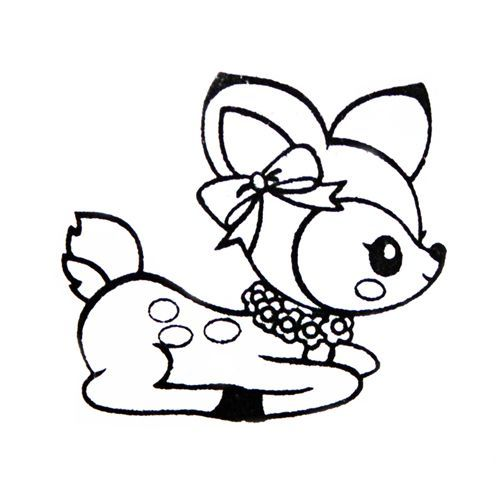 500x500 Cute Deer Stamp With Ribbon Kawaii Japan Kawaii, Stamps And Digi