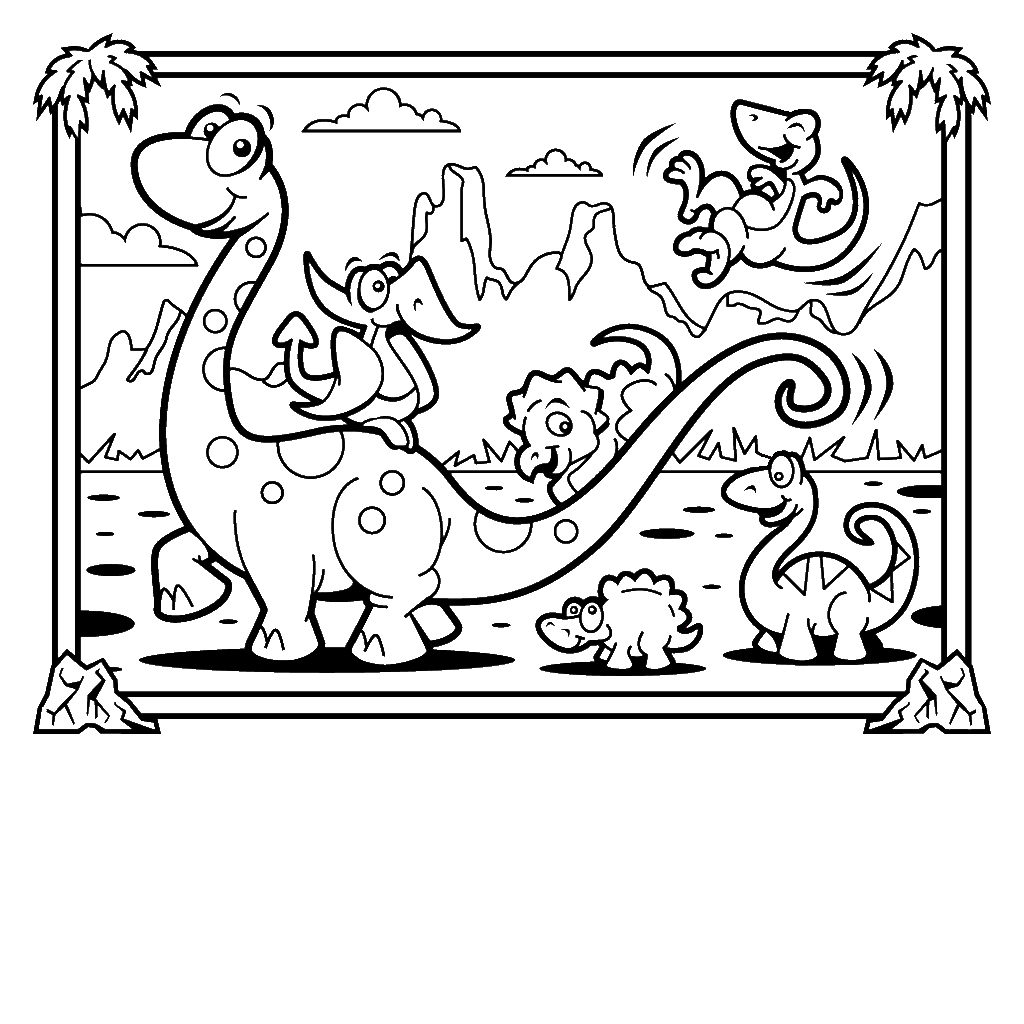 1024x1024 New Unlock Dinosaur Coloring Pages Cute Cartoon Page Free
